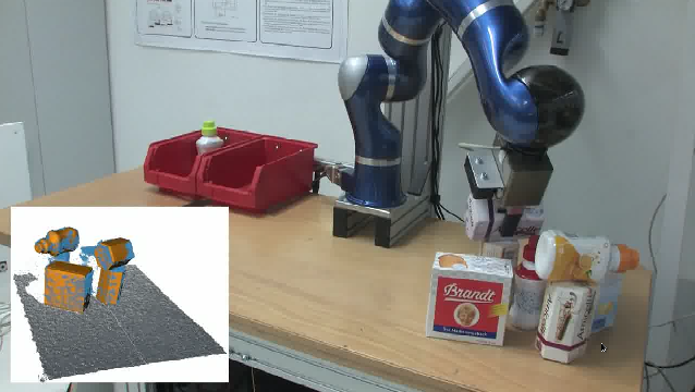 Robot Cleaning a Cluttered Table Scenario